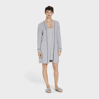 Women's Aldridge Mini Stripe Bathrobe - Navy/Cream