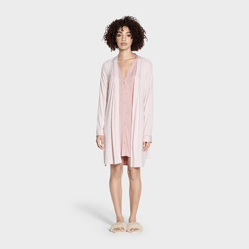 Women's Aldridge Mini Stripe Bathrobe - Pink Dawn/Cream
