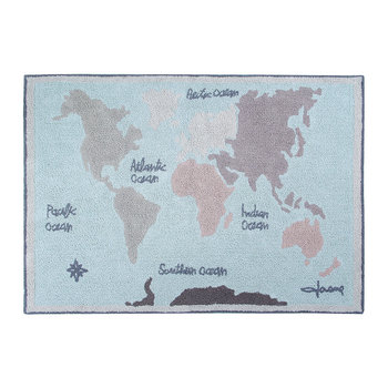 Vintage Map Washable Rug - 140x200cm