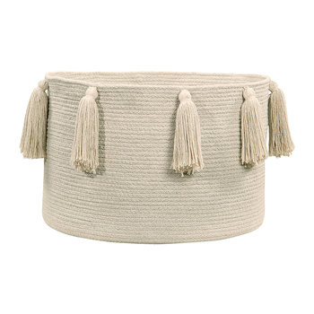 Tassels Cotton Basket - Natural