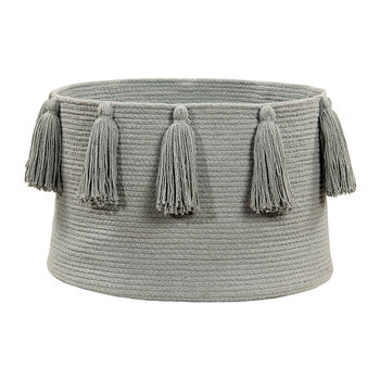 Tassels Cotton Basket - Light Grey