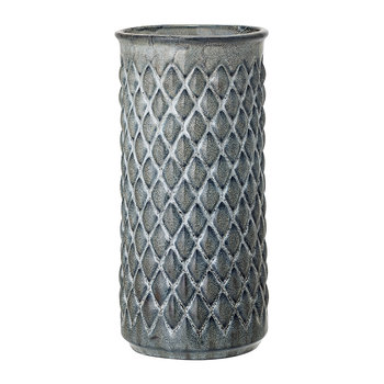 Blue Diamond Textured Stoneware Vase - 30cm