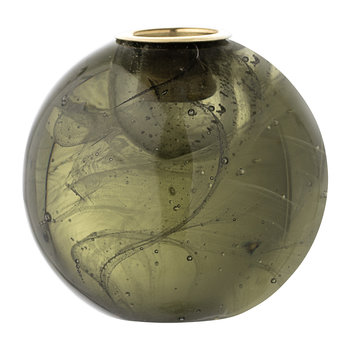 Spherical Glass Candlestick Holder - Green