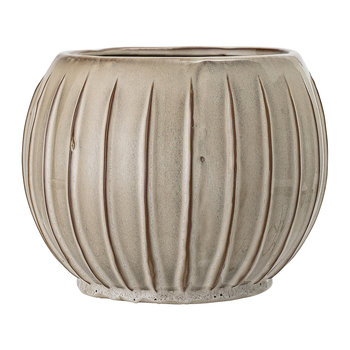 Ridged Stoneware Flowerpot - Natural
