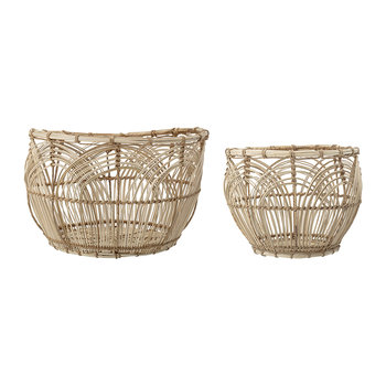 Round Rattan Baskets - Set of 2 - Natural