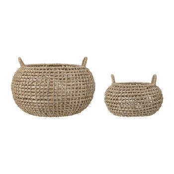 Round Seagrass Baskets - Set of 2 - Natural