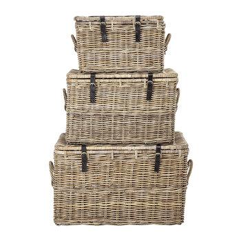 Rectangular Rattan Baskets - Set of 3 - Natural