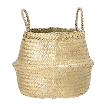 Round Seagrass Basket with Handles - Gold