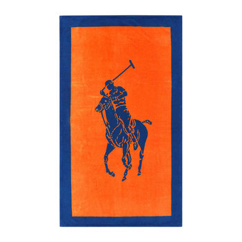 Serviette de Plage en Jacquard Polo - Orange/Cobalt