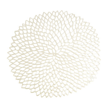 Pressed Vinyl Dahlia Round Placemat - Champagne