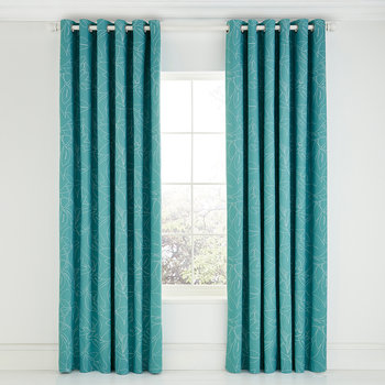 Baja Citrus Lined Curtains - Blue