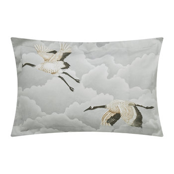 Cranes In Flight Oxford Pillowcase - Silver