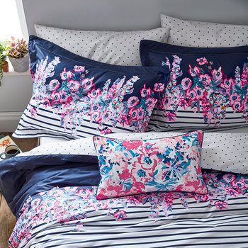 Cottage Garden Border Stripe Pillowcase - Comet