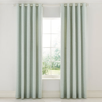 Protea Flower Sea Pink Lined Curtains - Green
