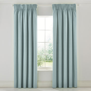 Strawberry Thief Brown Lined Curtains - Duck Egg Blue
