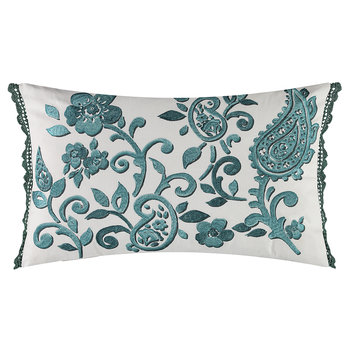 Floretta Paisley Cushion - 60x40cm - Peacock