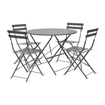 Rive Droite Bistro Table & Chairs Set - Carbon - 4 Chairs