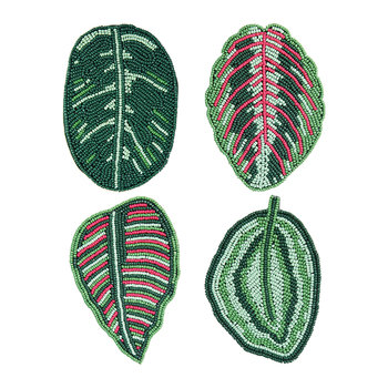 Beaded Calathea Coasters - Set of 4