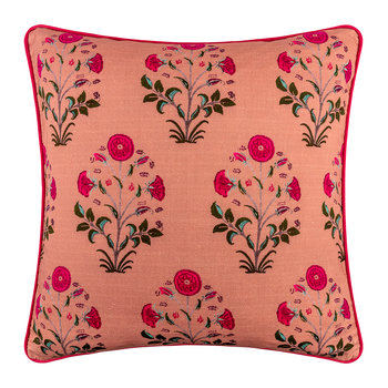 Samode Rose Printed Cushion Cover - 50x50cm - City Pink