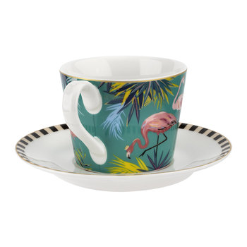 Tahiti Collection Teacup and Saucer - Flamingo
