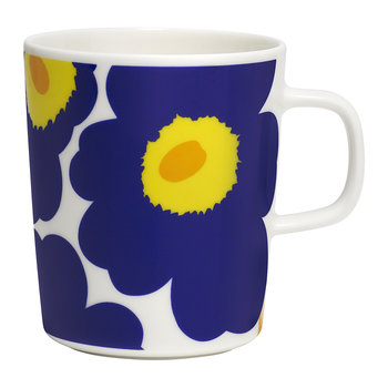 Oiva/Unikko Mug - Small - White/Dark Blue/Yellow