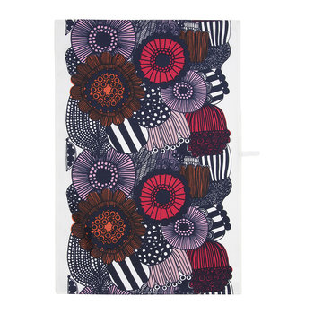 Pieni Siirtolapuutarha Tea Towel - White/Red/Dark Blue
