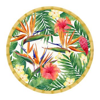 Exotic Flowers Round Dish