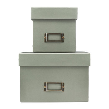 Grey Storage Box with Lid - Set of 2 - Square