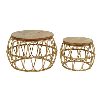 Rattan Side Table - Set of 2