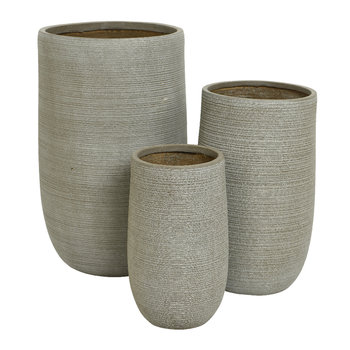 Tall Clay Plant Pot - Set of 3 - Taupe