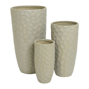 Tall Clay Plant Pot - Set of 3 - Sand