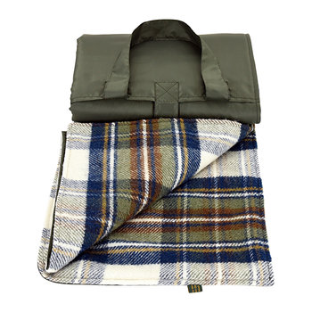 Eventer Pure New Wool Picnic Blanket - Muted Blue Dress Stewart/Olive