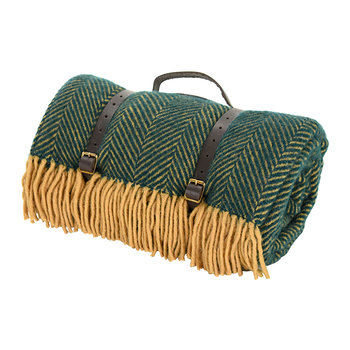 Pure New Wool Polo Picnic Rug - Herringbone Emerald/Brown