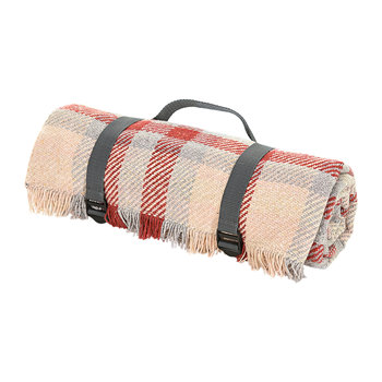 Keith Check Recycled Picnic Rug - Red/Silver/Gray