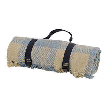 Keith Check Recycled Picnic Rug - Blue/Silver/Navy