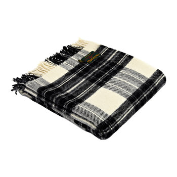 Pure New Wool Tartan Throw - Gray Dress Stewart