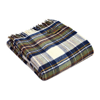 Pure New Wool Tartan Throw - Muted Blue Dress Stewart