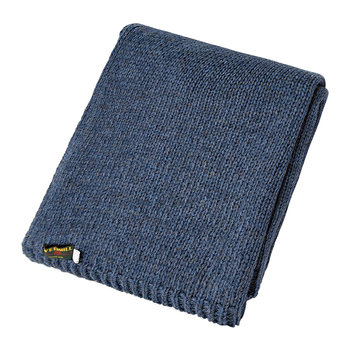 Knitted Alpaca Throw - Blue Slate