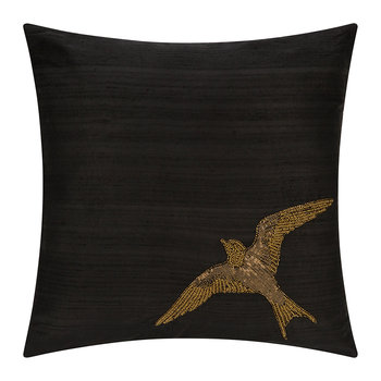 Swallow Bird Cushion - Black/Gold - 45x45cm