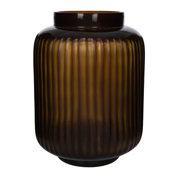 Striped Glass Vase - Dark Amber