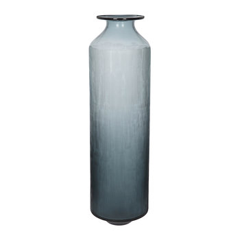Tall Scored Glass Vase - Indigo Blue