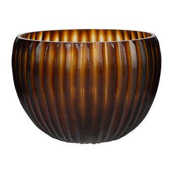 Striped Glass Bowl - Dark Amber