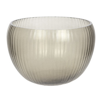 Striped Glass Bowl - Smoke Grey