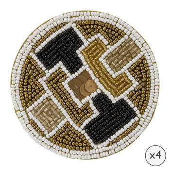Geometric Beaded Coasters - Set of 4
