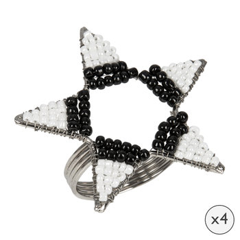 Beaded Star Napkin Rings - Set of 4