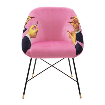 Upholstered Padded Chair - Pink Lipsticks