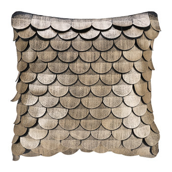 Leather Scalloped Cushion - 35x35cm - Gold