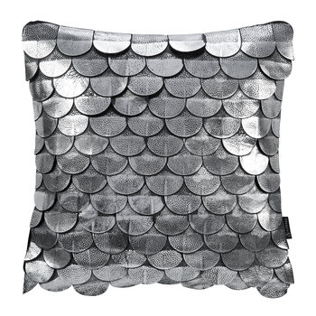 Leather Scalloped Cushion - 35x35cm - Silver