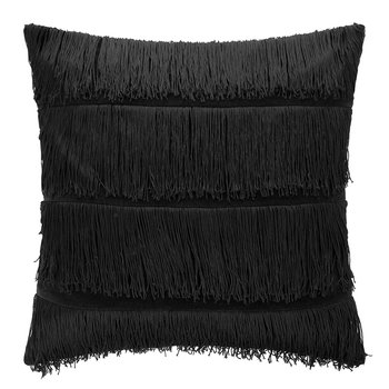 Velvet Tassel Cushion - 50x50cm - Black