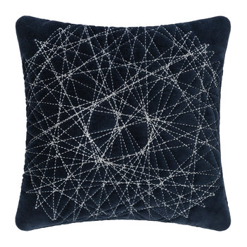 Navy Velvet Quilted Pillow - 30x30cm